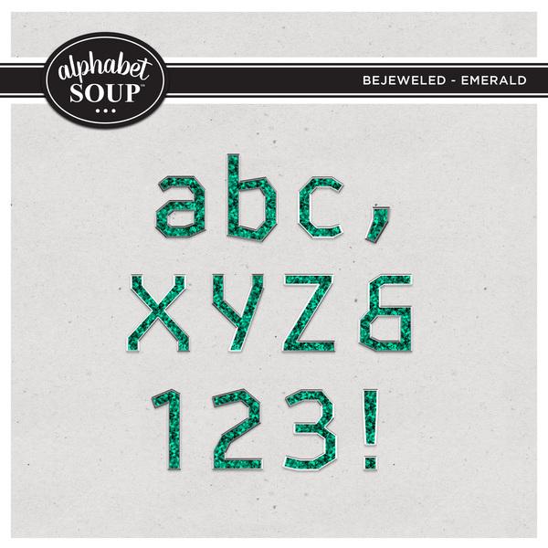 Bejeweled Alpha - Emerald Digital Art - Digital Scrapbooking Kits