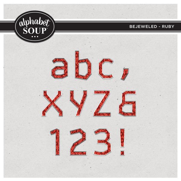 Bejeweled Alpha - Ruby Digital Art - Digital Scrapbooking Kits