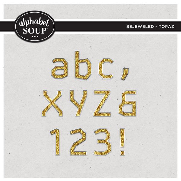 Bejeweled Alpha - Topaz Digital Art - Digital Scrapbooking Kits