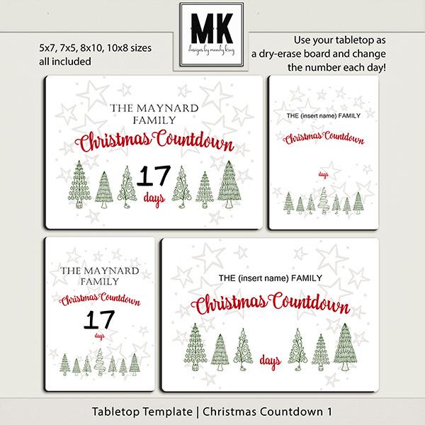 Tabletop Template - Christmas Countdown 1