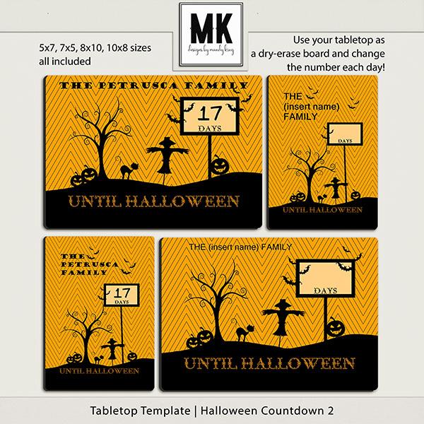 Tabletop Template - Halloween Countdown 2 Digital Art - Digital Scrapbooking Kits