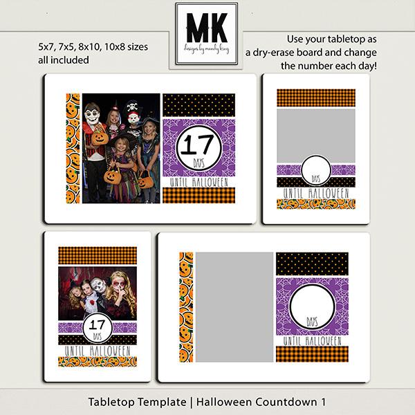 Tabletop Template - Halloween Countdown 1 Digital Art - Digital Scrapbooking Kits