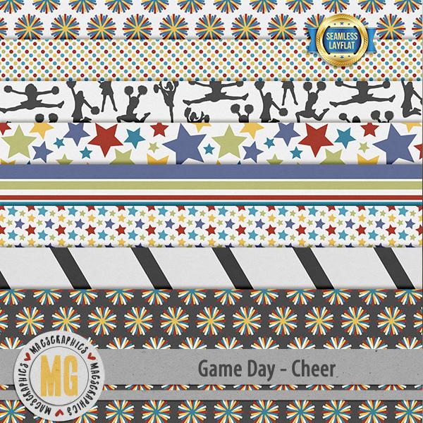 Game Day Cheer SLF Papers Digital Art - Digital Scrapbooking Kits