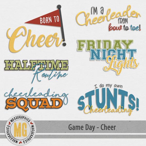 Game Day Cheer Word Art Digital Art - Digital Scrapbooking Kits
