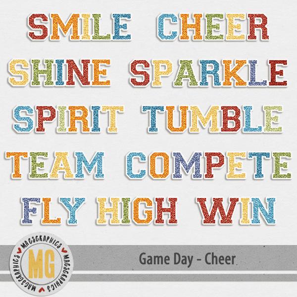 Game Day Cheer Titles Digital Art - Digital Scrapbooking Kits