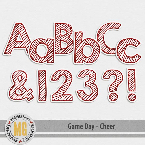 Game Day Cheer Alpha Digital Art - Digital Scrapbooking Kits