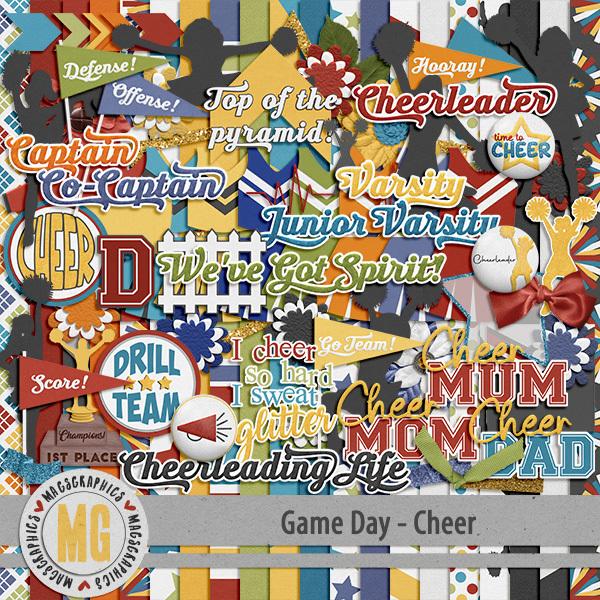 Game Day Cheer Kit Digital Art - Digital Scrapbooking Kits