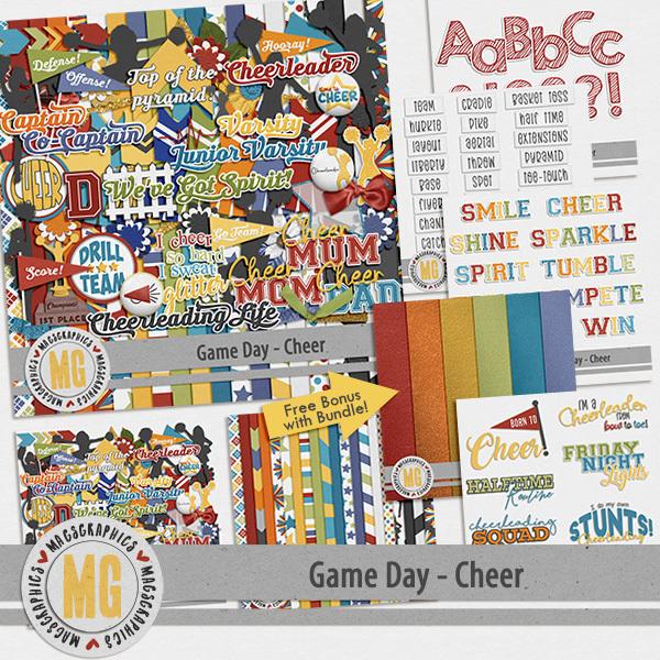 Game Day Cheer Bundle Digital Art - Digital Scrapbooking Kits