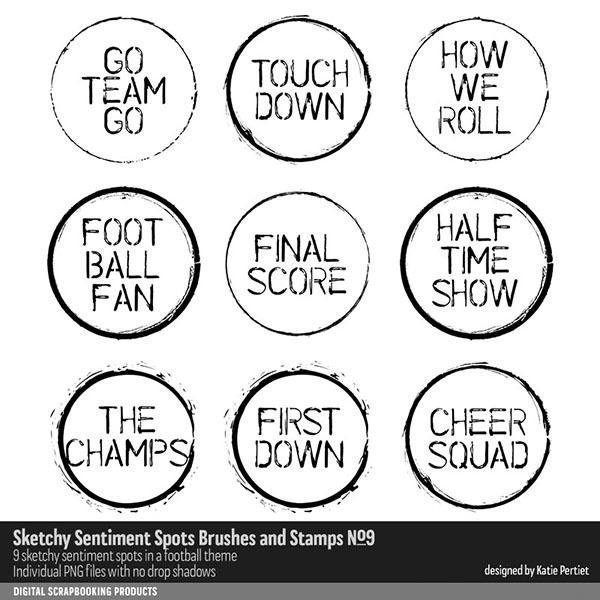 Sketchy Sentiment Spots Brushes and Stamps 09 Digital Art - Digital Scrapbooking Kits