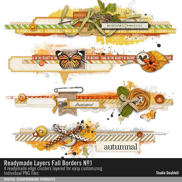 Readymade Layers Fall Borders 01 Digital Art - Digital Scrapbooking Kits