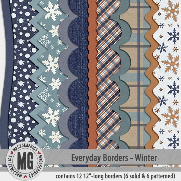 Everyday Seasonal Borders - Winter Digital Art - Digital Scrapbooking Kits