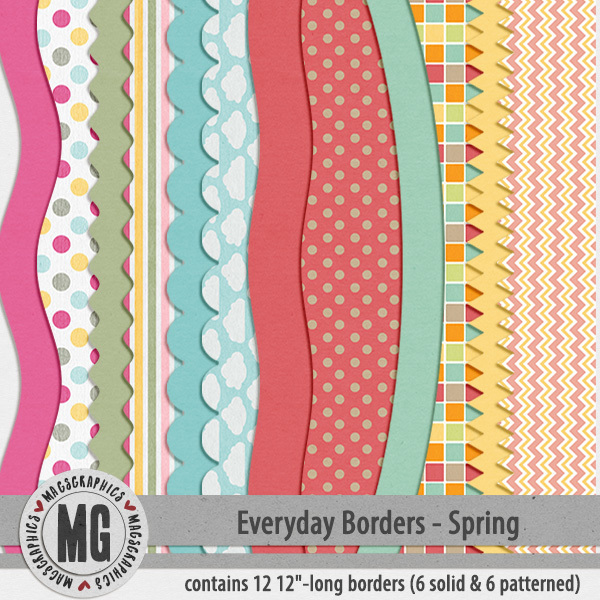 Everyday Seasonal Borders - Spring Digital Art - Digital Scrapbooking Kits