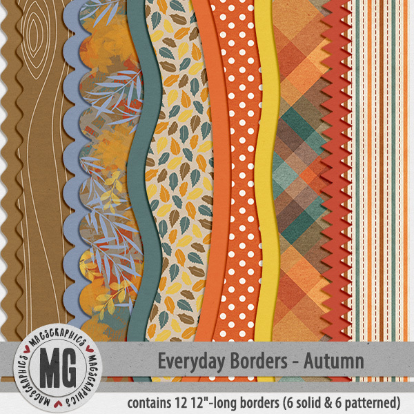 Everyday Seasonal Borders - Autumn Digital Art - Digital Scrapbooking Kits