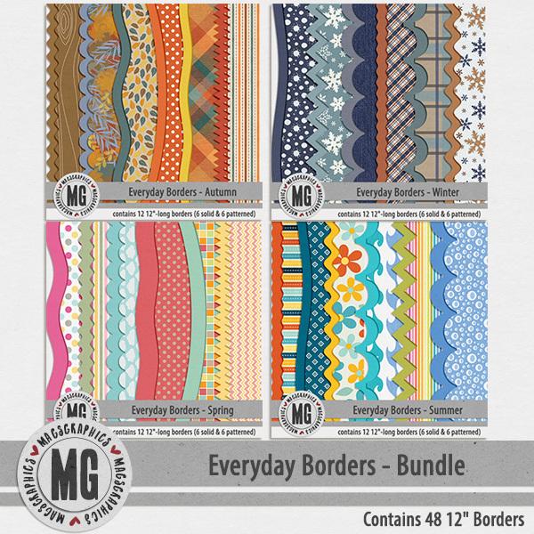 Everyday Seasonal Borders BUNDLE Digital Art - Digital Scrapbooking Kits