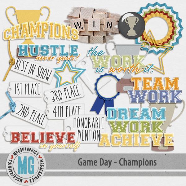 Game Day Champions Pack Digital Art - Digital Scrapbooking Kits
