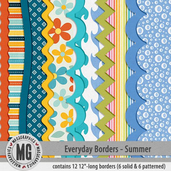 Everyday Seasonal Borders - Summer Digital Art - Digital Scrapbooking Kits