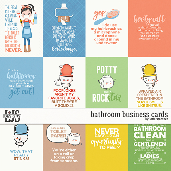 Bathroom Business Cards Digital Art - Digital Scrapbooking Kits
