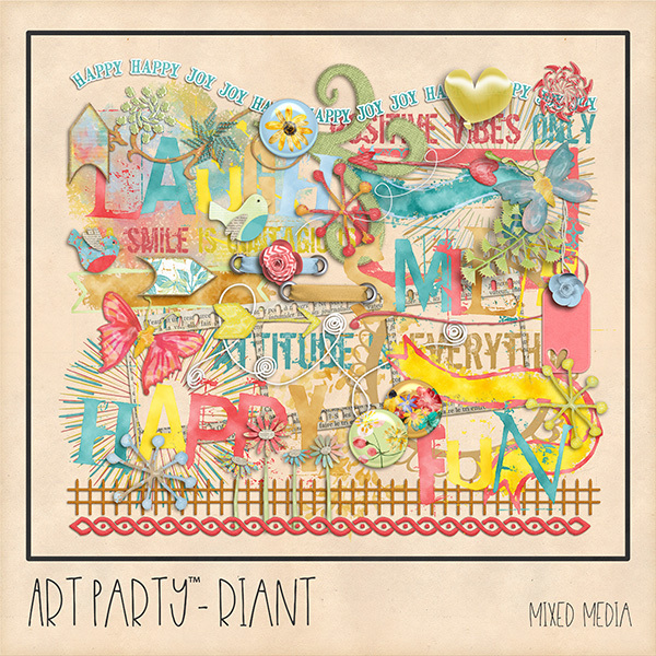 Riant Mixed Media Embellishments Digital Art - Digital Scrapbooking Kits
