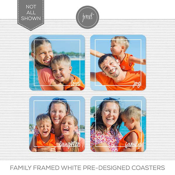 Family Framed White Pre-Designed Coasters Digital Art - Digital Scrapbooking Kits