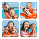 Family Framed White Pre-Designed Coasters