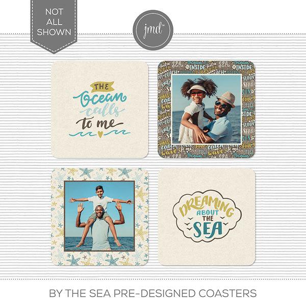 By the Sea Pre-Designed Coasters Digital Art - Digital Scrapbooking Kits