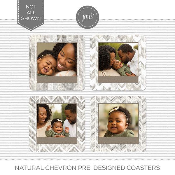 Natural Chevron Pre-Designed Coasters Digital Art - Digital Scrapbooking Kits