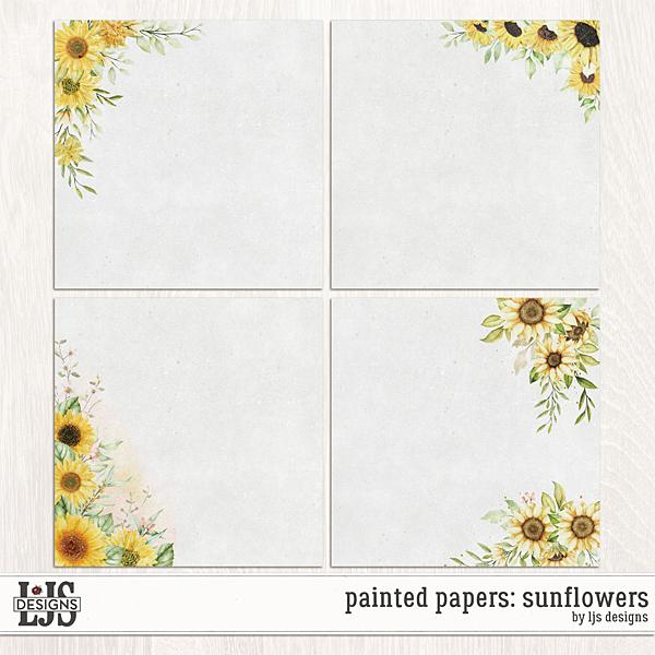 Painted Papers - Sunflowers Digital Art - Digital Scrapbooking Kits