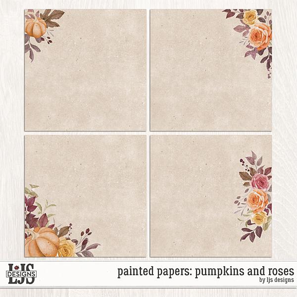 Painted Papers - Pumpkins And Roses Digital Art - Digital Scrapbooking Kits