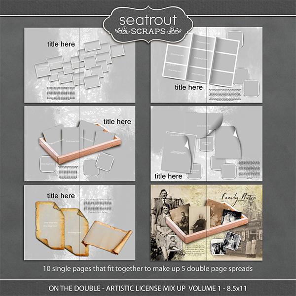 On the Double - Artistic License Mix Up Volume 1 - 8.5x11 Digital Art - Digital Scrapbooking Kits