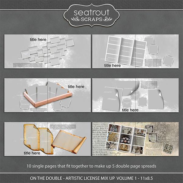 On the Double - Artistic License Mix Up Volume 1 - 11x8.5 Digital Art - Digital Scrapbooking Kits