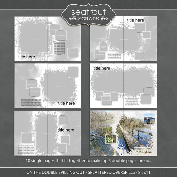 On the Double - Spilling Out - Splattered Overspills - 8.5x11 Digital Art - Digital Scrapbooking Kits