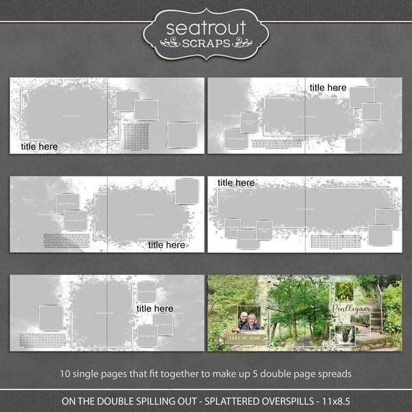 On the Double - Spilling Out - Splattered Overspills - 11x8.5 Digital Art - Digital Scrapbooking Kits