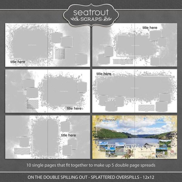 On the Double - Spilling Out - Splattered Overspills - 12x12 Digital Art - Digital Scrapbooking Kits