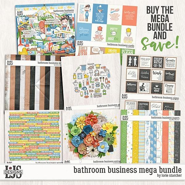 Bathroom Business Mega Bundle Digital Art - Digital Scrapbooking Kits