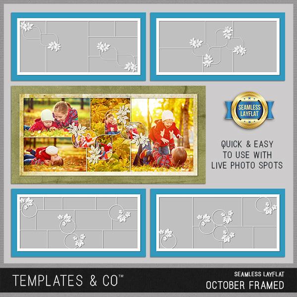Seamless Layflat October Framed Digital Art - Digital Scrapbooking Kits
