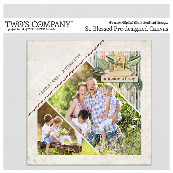 So Blessed Pre-designed Canvas Digital Art - Digital Scrapbooking Kits