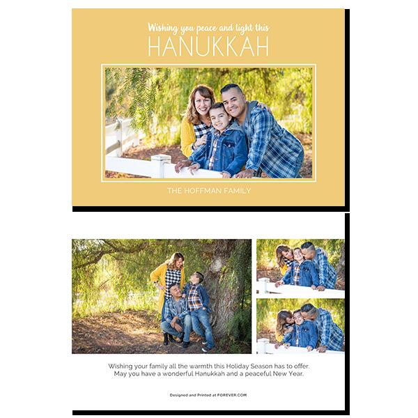Peace and Light Hanukkah Gold Card