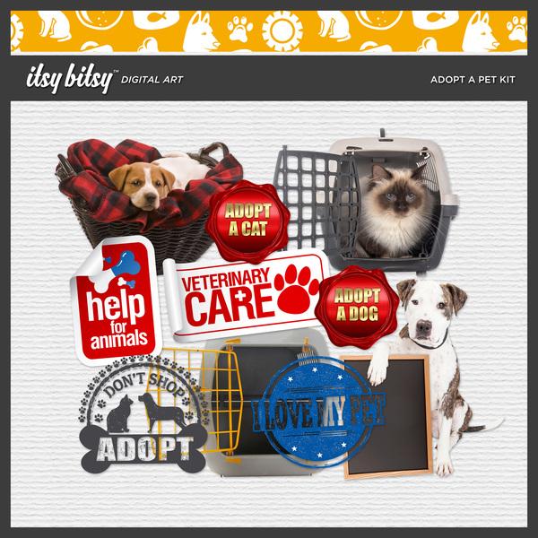 Adopt A Pet Kit Digital Art - Digital Scrapbooking Kits