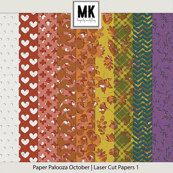 Paper Palooza October - Laser Cut Papers 1 Digital Art - Digital Scrapbooking Kits