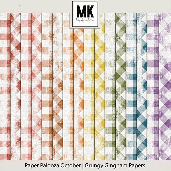 Paper Palooza October - Grungy Gingham Papers Digital Art - Digital Scrapbooking Kits