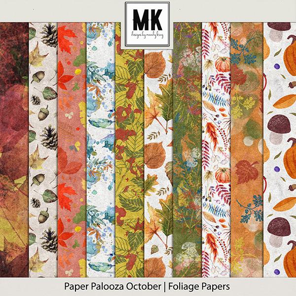 Paper Palooza October - Foliage Papers Digital Art - Digital Scrapbooking Kits