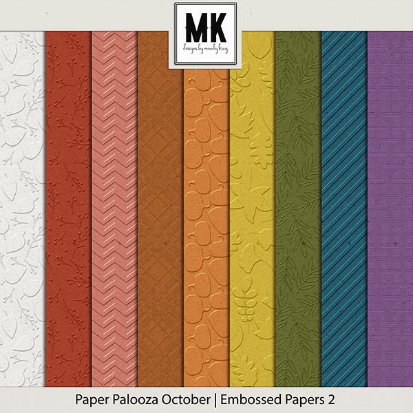 Paper Palooza October - Embossed Papers 2 Digital Art - Digital Scrapbooking Kits