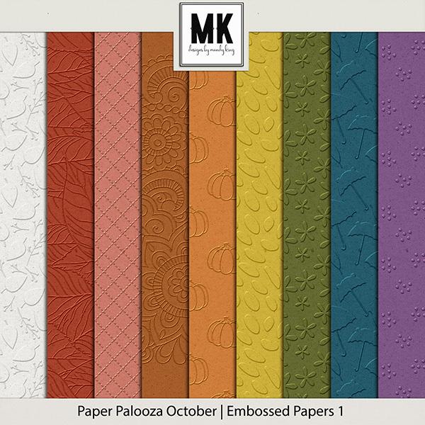 Paper Palooza October - Embossed Papers 1 Digital Art - Digital Scrapbooking Kits
