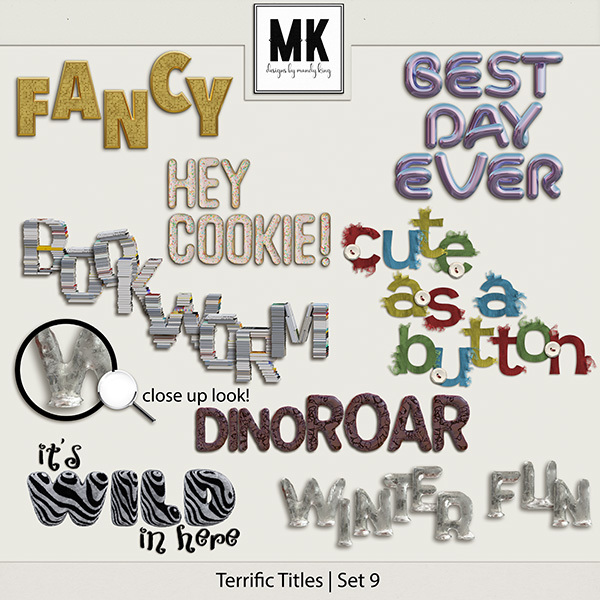 Terrific Titles Set 9 Digital Art - Digital Scrapbooking Kits