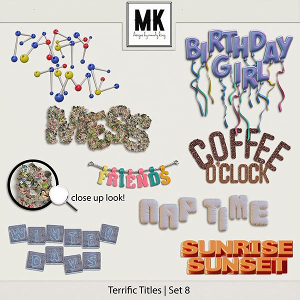 Terrific Titles Set 8 Digital Art - Digital Scrapbooking Kits