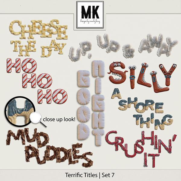 Terrific Titles Set 7 Digital Art - Digital Scrapbooking Kits