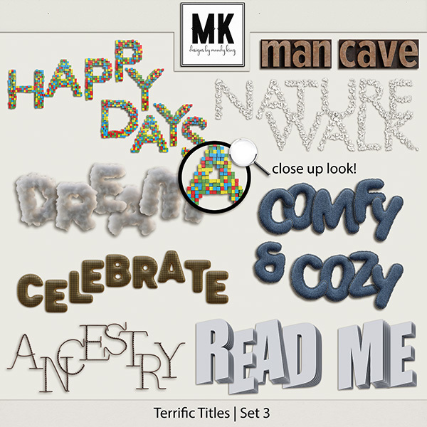 Terrific Titles Set 3 Digital Art - Digital Scrapbooking Kits