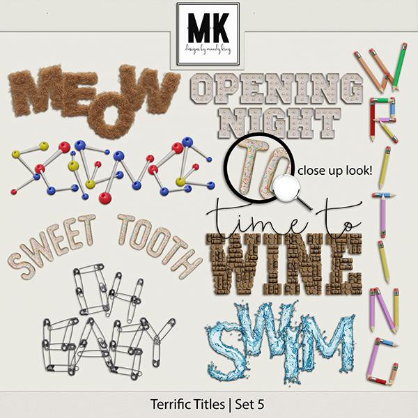 Terrific Titles Set 5 Digital Art - Digital Scrapbooking Kits