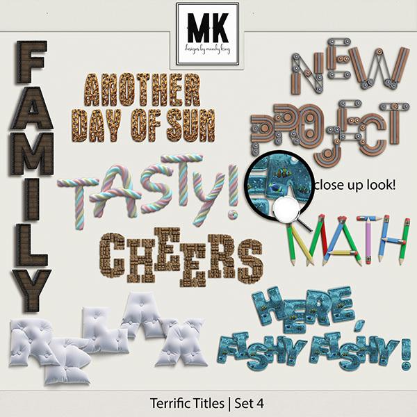 Terrific Titles Set 4 Digital Art - Digital Scrapbooking Kits