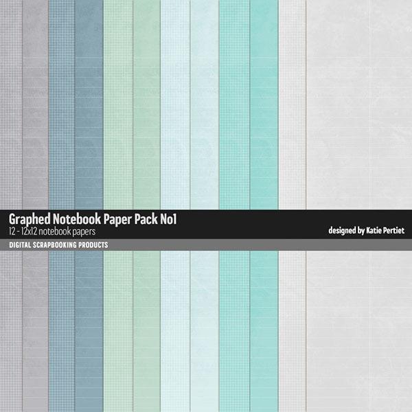Graphed Notebook Paper Pack 01 Digital Art - Digital Scrapbooking Kits